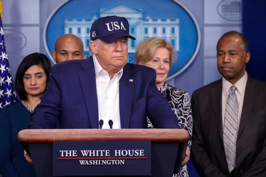 President Donald Trump speaks during a briefing on coronavirus in the Brady press briefing room at the White House, Saturday, March 14, 2020, in Washington.