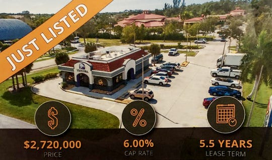 Taco Bell at 28370 Trails Edge Boulevard, Bonita Springs. A few of the listings Jim Shiebler, has for sale.  While the business isn't for sale, the land and the building and the lease is.