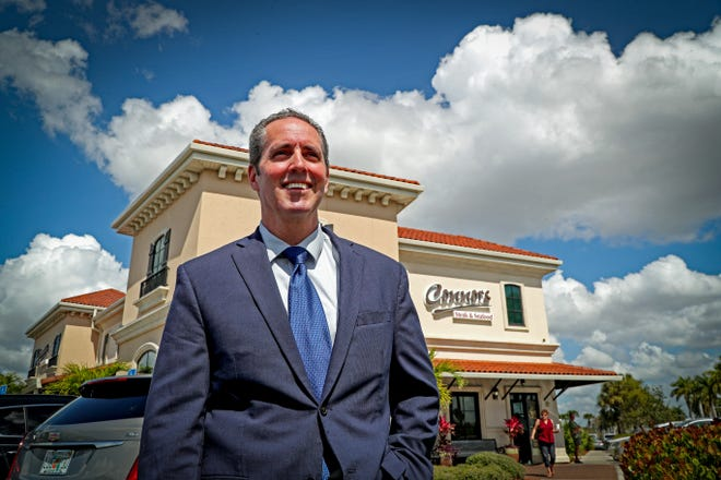 Jim Shiebler, vice president of investments for Marcus & Millichap, a national real estate brokerage firm, called himself the Òman behind the curtain.Ó He stands out in front of one of his properties, Connors Steak & Seafood. While the business isn't for sale, the land and the building and the lease is.