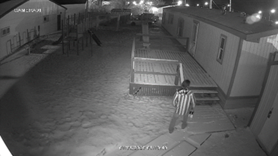 One of the suspect(s) was wearing a unique-striped hoodie.
