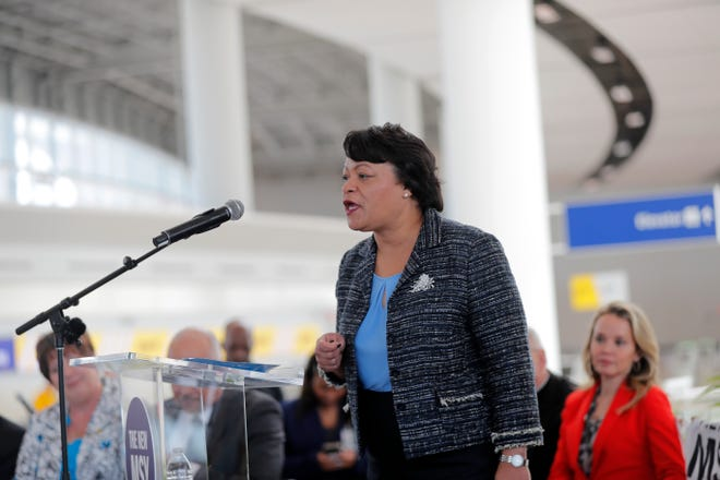 New Orleans Mayor Latoya Cantrell said she is searching for additional space to treat those with the coronavirus if area hospitals cannot handle the cases. (AP Photo/Gerald Herbert)