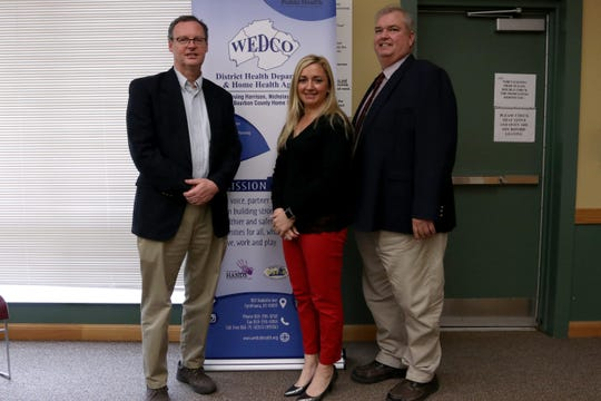 Officials leading the response to the coronavirus in Cynthiana, Kentucky are: Mayor James Smith; WEDCO District Health Department director Dr. Crystal Miller; and Harrison County Judge Executive Alex Barnett.