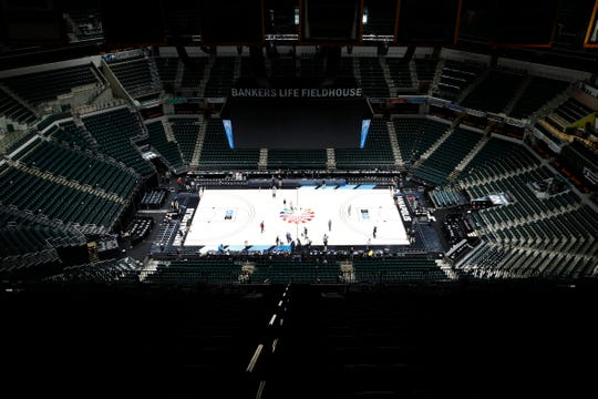 The Michigan Wolverines against the Rutgers Scarlet Knights is cancelled with no fans in attendance due to Coronavirus prevention as the 2020 Big Ten Tournament has been cancelled at Bankers Life Fieldhouse in Indianapolis.