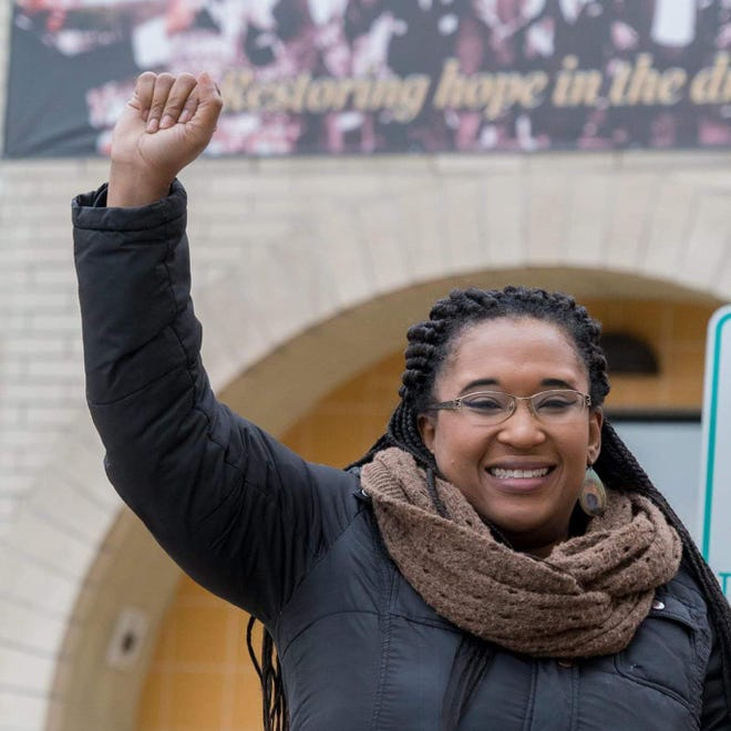 Angela Harris, pictured at Dr. Martin Luther King Jr. School in Milwaukee where she teaches first grade, started a system for people to support each other during the coronavirus pandemic.