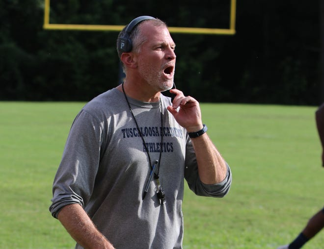 Tuscaloosa Academy Head Coach Robert Johnson calling a water break at the Tuscaloosa Academy Football Scrimmage in Tuscaloosa, Ala. on Thursday, Aug. 10, 2017. [Photo/ Jake Arthur/Tuscaloosa News]