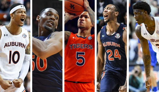 Auburn seniors (from left to right) Samir Doughty, Austin Wiley, J'Von McCormick, Anfernee McLemore and Danjel Purifoy.