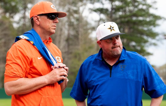 Glenwood coach Tim Fanning  and Autauga Academy coach Scott Tubbs before their game on the Autauga Academy campus in Prattville, Ala., on Friday March 13, 2020.