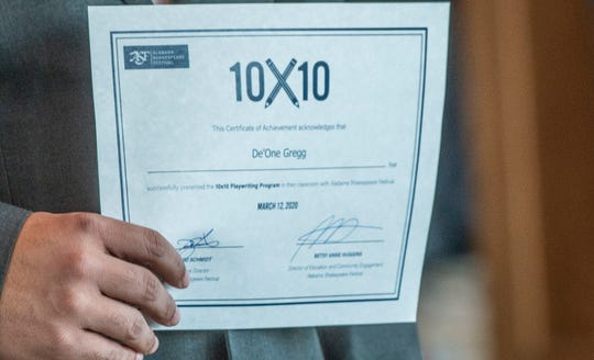 10x10 certificates were presented during a reception Thursday, March 12, 2020, at the Alabama Shakespeare Festival.
