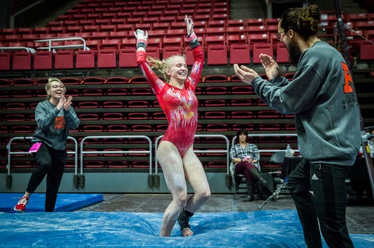 The IHSAA gymnastics state finals at Worthen Arena was the only athletic event in the state that wasn't cancelled amid coronovirus fears. Only athletes, coaches and credentialed media were permitted into the event.
