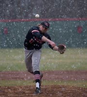 Muskingum University senior  Josh Bigrigg from River View pitches through the snow Saturday at Denison University.The Big Red hosted the Muskies for the last game before the season was postponed due to COVID-19.