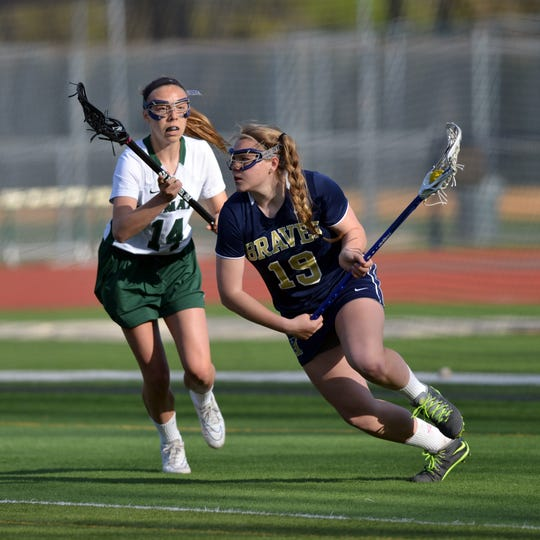 In this 2015 file photo, Indian Hills lacrosse attacker Ann Wray, right, plays Ramapo defender Taylor Pani, left.