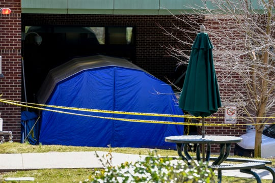 Holy Name Medical Center in Teaneck, NJ has tents set up near the rear entrance to triage patients on Saturday March 14, 2020.