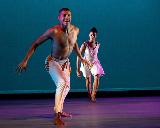Nathaniel Hunt, left, and Aubree Brown perform during the Ailey II 2015 New York Season Dress Rehearsal at the Joyce Theater in 2015 in New York City. (Photo by Ben Gabbe/Getty Images)