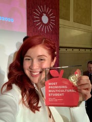 Jessica Tarin, named one of the 50 Most Promising Multicultural Students by the American Advertising Federation, with her award at the three-day program hosted in New York City.