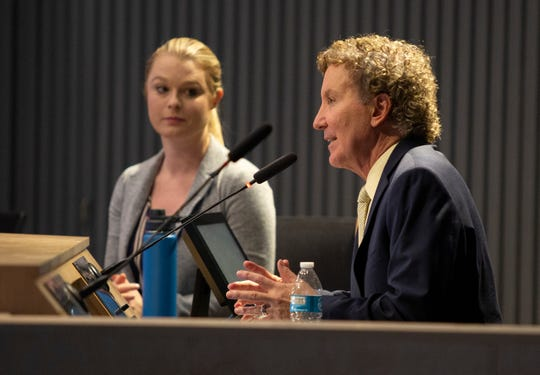 City of Palm Springs Mayor Geoff Kors opens up a special meeting to public comment, to which there was none, as Mayor Pro Tem Christy Holstege listens in Palm Springs, Calif., on Saturday, March 14, 2020. The meeting then went into closed session.