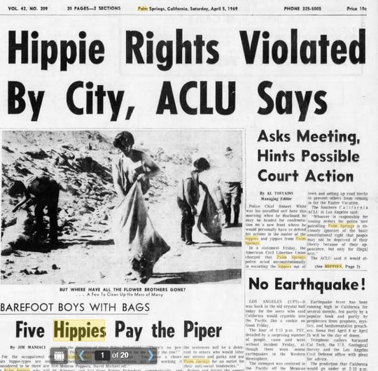 """Five young men described as """"hippie-types"""" perform community service in Palm Springs after being convicted of drunkeness, loitering and disturbing the peace following their arrests in what was called """"Operation Clean-Out."""""""