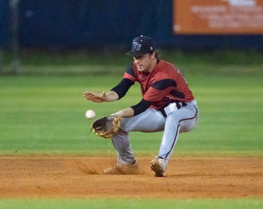 Shortstop Hayden Pursell (28) fields a grounder and throws to first for an out during the West Florida vs Escambia baseball game at Escambia High School on Friday, March 13, 2020.