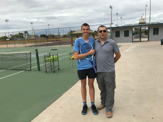 March 10, 2020; Deer Valley boys tennis singles champion Oliver Boleratzky and his father Adam Boleratzky