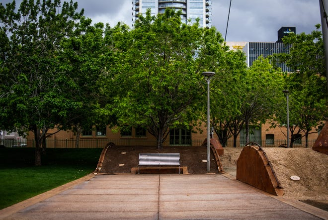 Civic Space Park in downtown Phoenix was relatively empty on March 13, 2020. The city center has quieted down as more people stay home during the COVID-19 pandemic.