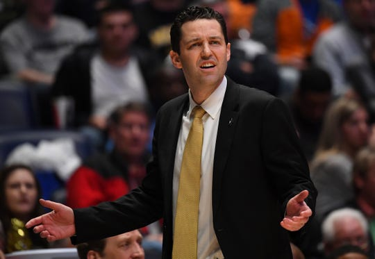 Vanderbilt coach Bryce Drew questions a non-call during the first half against the Texas A&M of the SEC conference tournament at Bridgestone Arena in 2019.