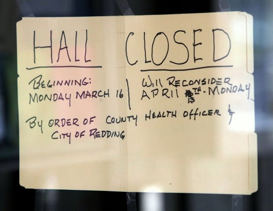 A sign posted on the window at the Senior Citizens Hall in Redding notifies guests that it's closed starting Monday, March 16, 2020, over fears of the coronavirus.