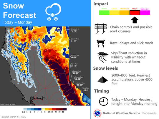 The National Weather Service has issued a winter storm warning for parts of Northern California this weekend, warning of snow from 2,000 to 4,000 feet with 12 to 18 inches of snow possible on Interstate 5 in the Mount Shasta area.