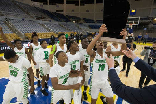 Bossier High won the 2020 LHSAA Class 3A state basketball title on Saturday by topping Wossman 62-61.