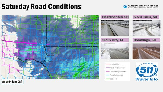 Snowfall overnight on Saturday has caused slippery road conditions across South Dakota, NWS officials say.