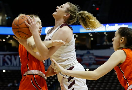 Logan Jones, of Strafford, is fouled during the Indians game against Licking in the Class 3 State Championship game at JQH Arena on Saturday, March 14, 2020. Strafford won the game 65-62.