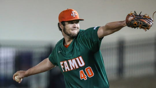 Florida A&M pitcher Kyle Coleman (40) during an NCAA baseball game against Florida on Wednesday, March 4, 2020, in Gainesville, Fla. (AP Photo/Gary McCullough)
