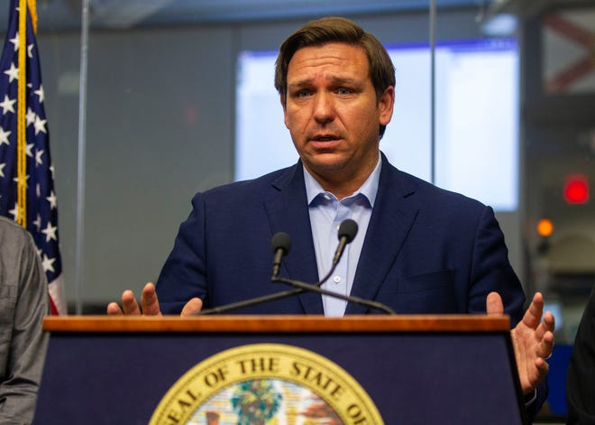 Gov. Ron DeSantis holds a press conference at the State Emergency Operations Center to give updates on how the coronavirus has impacted Florida, Saturday, March 14, 2020.