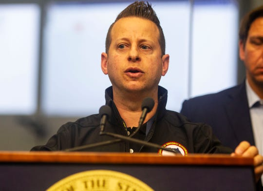 Florida Emergency Management Director Jared Moskowitz speaks at a press conference held at the State Emergency Operations Center regarding coronavirus, Saturday, March 14, 2020.