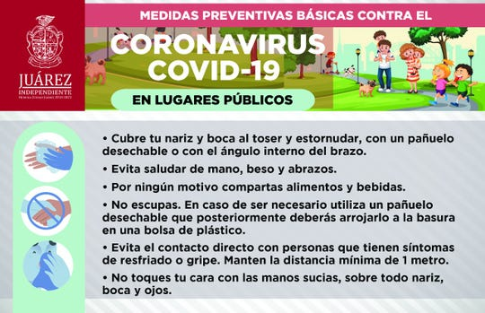 Juarez city government is distributing posters on coronavirus prevention.