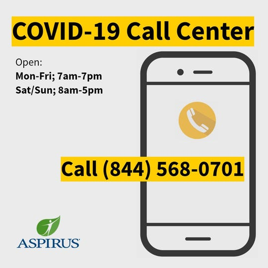 Aspirus has set up a hotline for people to call with questions about COVID-19.