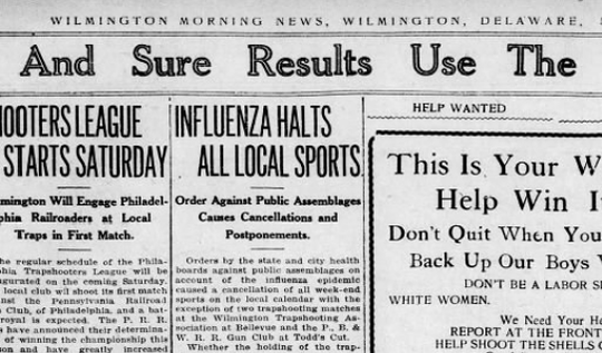 A screenshot from a copy of the Wilmington Morning News in 1918 shows a headline announcing disruptions from the Spanish flu.