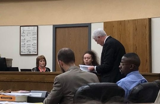Wichita County District Attorney John Gillespie questions Shantalle Shabrea Vallier on March 13 during Jermar Fuller's capital murder trial. Fuller is seated, right.