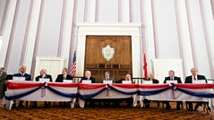 Alabama Electoral College Delegates vote for Donald Trump inside the Alabama Capitol building on Monday, Dec. 19, 2016, in Montgomery, Alabama.