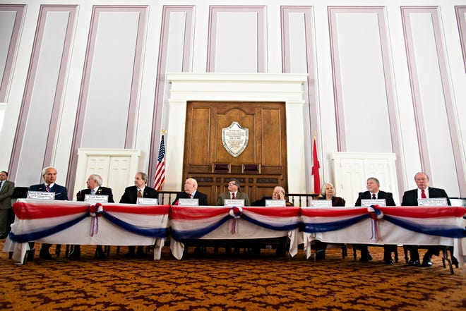 Alabama Electoral College Delegates vote for Donald Trump inside the Alabama Capitol building on Monday, Dec. 19, 2016, in Montgomery, Ala.