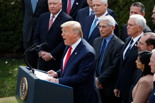 President Donald Trump speaks during a news conference about the coronavirus in the Rose Garden at the White House, Friday, March 13, 2020, in Washington.