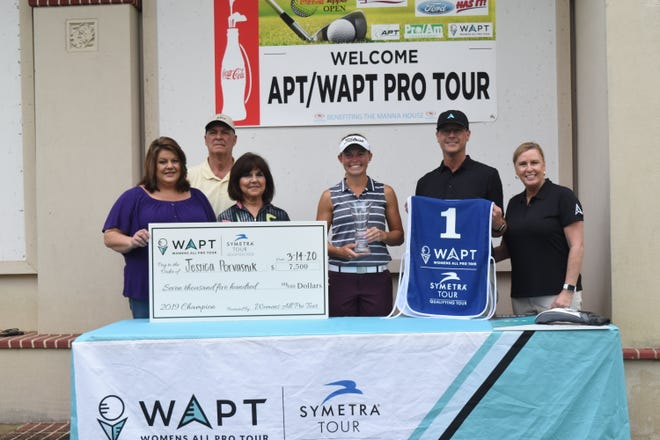 Jessica Porvasnik (center) of Hinckley, Ohio, and who played at Ohio State University, won the Women's All-Pro Tournament  held Saturday, March 14, 2020 at Oak Wing Golf Club and a $7,500 purse. Porvasnik shot 14 under par with a total of 274 strokes. With Porvasnik are Jessica Viator (left), executive director of the Manna House; Jimmy Slater; Theresa Slater, local All-Pro Tour and Women's All-Pro Tour chair;Gary Deserrano president of the tour and his wife Kathy Deserrano, manager of the tour. The tournament is part of the Professional Golfers Association tour.