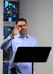 Dustin Wilhite blesses those watching a livestream of his sermon Sunday on Aldersgate UMC's Facebook page. He spoke to fears, community and calm.
