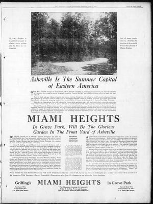 This ad for Miami Heights appeared in the June 2, 1926, issue of the Asheville Citizen.