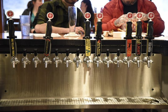 The tap at Territorial Brewing Company in Springfield, Mich. on Saturday, March 14, 2020.