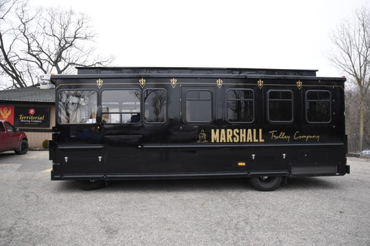 The Marshall Trolley Company trolley parked at Territorial Brewing Company in Springfield, Mich. on Saturday, March 14, 2020.