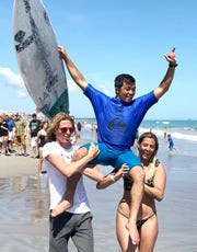 Kei Kobayashi won the men's pro title at the Ron Jon Beach 'N Boards Fest at Cocoa Beach. He won the junior men's title in 2016, becoming the first to achieve that feat.