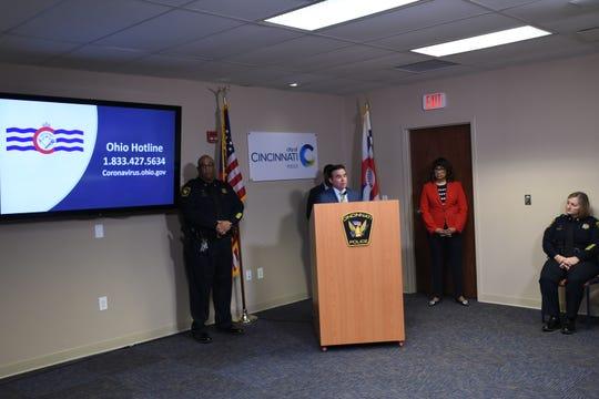 CIncinnati Police Chief Eliot Isaac. Mayor John Cranley, Health Commissioner Melba Moore