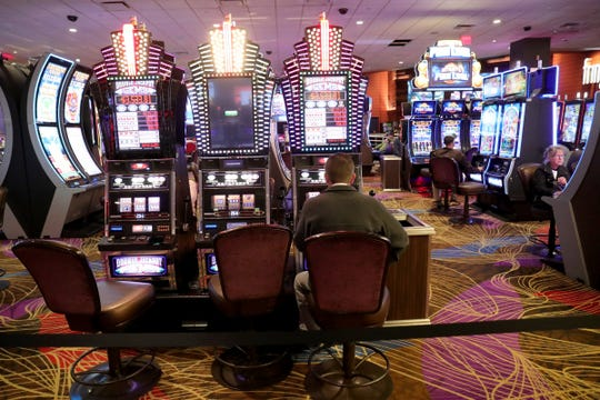 Due to the Coronavirus Pandemic the Greektown Casino is blocking off areas making sure no more than 250 people can gather in one space Sunday, March 15, 2020.