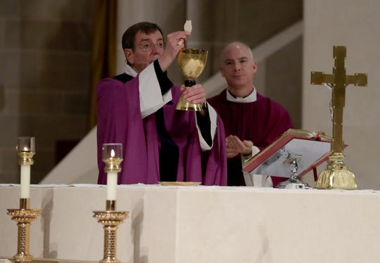 Due to the coronavirus pandemic, Archbishop Vigneron's service was live-streamed to the parishioners of Blessed Sacrament church in Detroit Sunday, March 15, 2020.