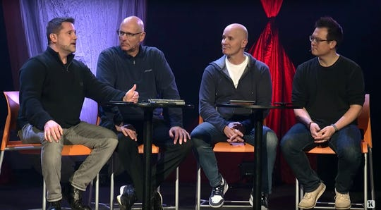 From left, clergy Chris Zarbaugh, Steven Andrews, Dave Wilson and Justin Warns hold online services at Kensington Church. Kensington has 6 churches in Michigan and is believed to be the largest evangelical Protestant congregation in the state.