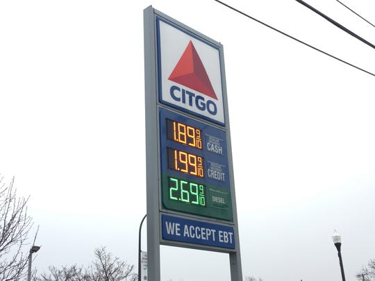 Gas prices at the Citgo on Michigan Avenue and Charles in east Dearborn on March 12, 2020.